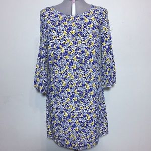 Old Navy Blue & Yellow Floral Shift Dress L Tall